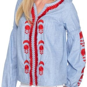 Crown & Ivy Chambray Red embroidered blouse